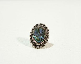 Vintage Alpaca Silver and Abalone Shell Ring Size 5