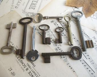 sale - vintage keys - old skeleton keys - 9 beautiful iron and brass keys (S-30b).