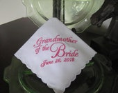 Personalized Grandmother of the Bride machine embroidered wedding handkerchief by Sweet Sewing Jeans