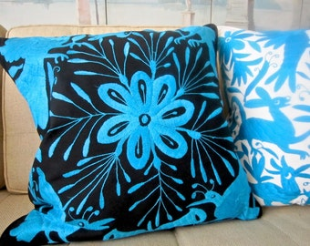 "TURQUOISE on Black Otomi Embroidered Pillow 20"" X 20"" Cover"