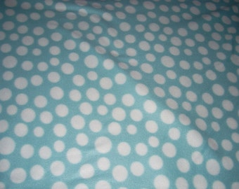 Fleece Fabric - light blue and White Polka Dot Fleece  - sold by the yard