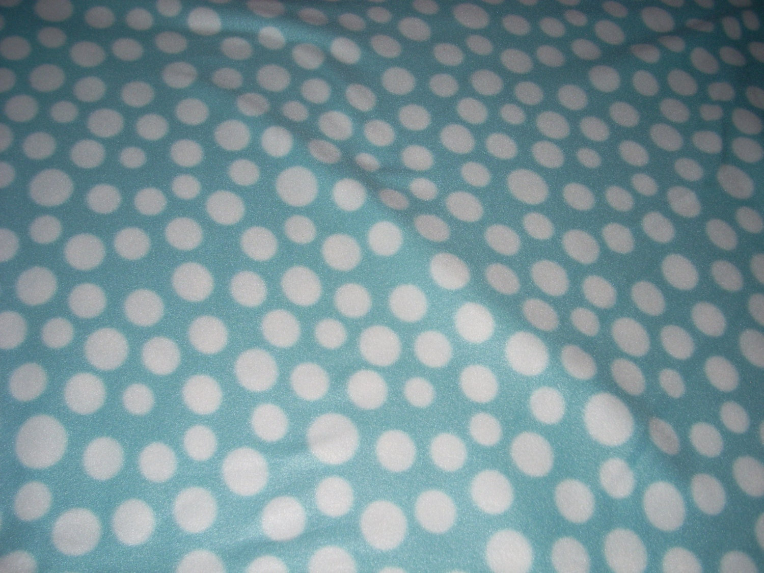 Fleece Fabric light blue and White Polka Dot Fleece sold
