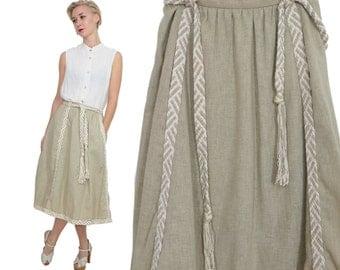 Braided Linen Full Skirt with Pockets & Self Belt / M / L / Braided Belt Folk Trachten Skirt