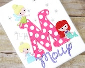 PICK YOUR PRINCESS Embroidered Birthday Shirt or Bodysuit with Sequins and Bling Rhinestones - Free Personalization