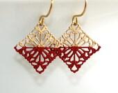 Red Filigree Earrings * Dark Red Earrings * Painted Earrings * Earrings Unique * Earrings Red * Modern Earrings * Gypsy..*Courageous Coward*