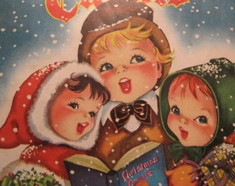 Vintage Christmas Carols Songbook Paper Black and White 1938