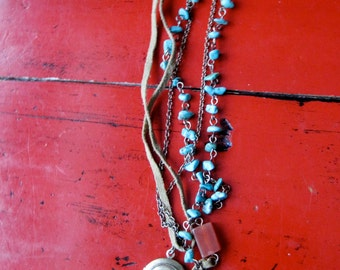 PILGRIM DANISH vintage three strand necklace Boho Gypsy