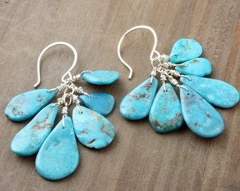 Turquoise Petal Earrings