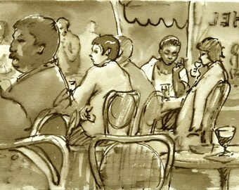 Au Cafe, Paris 1980s. Original Pen and Ink Drawing, 5x7 Reed Pen and Sepia Ink, Vintage Fine Art, Signed Original Sketch from France