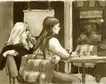 Au Cafe, A Paris. Reed Pen and Sepia Ink on 6x8 Paper, Vintage Fine Art, Signed Original Drawing