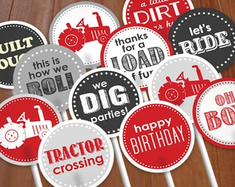 TRACTOR BIRTHDAY Cupcake Toppers & Party Circles in Red and Charcoal Gray- Instant Printable Download