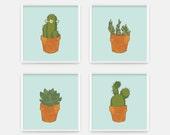 Cactus Print - Dorm Decor - Office Wall Art - Green and Blue Office Print - Desert Cactus Art Print - Cactus Art - CCo