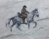 Pale Rider on white horse in snow original Dutch oil painting 30 x 40 cm 12 x 16 inches