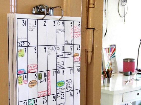 Fait main papeterie et accessoires de f te calendrier for Calendrier mural 2015