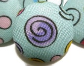 Robin's Egg Blue with Swirls and Dots, Fabric CoveredPushpins/Thumbtacks