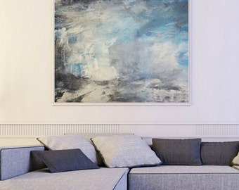 Blue Abstract painting, white blue art, Giclee Print, Abstract Painting, blue white Giclee, clouds painting, white Blue, sky painting