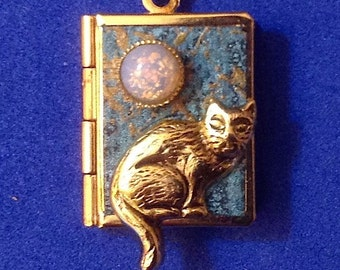 Cat Love Locket, aquamarine and gold, holding 14 ways to say 'I love you' from English to American Sign Language.