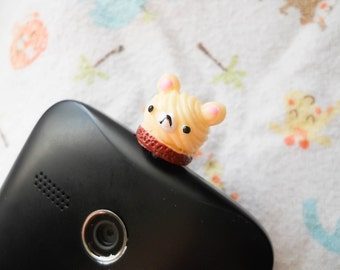 Kawaii Phone Charm, Kawaii Dust Plug, Cute Phone Charm, iPod Charm, iPhone Charm, Teddy Bear Charm, Dust Plug, Kawaii Kei, Sweet Lolita