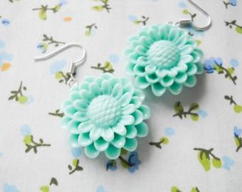 Flower Earrings, Big Flower Earrings, Blue Flower Earrings, Cute Earrings, Summer Earrings, Chrysanthemum, Lolita Earrings, Kawaii Kei