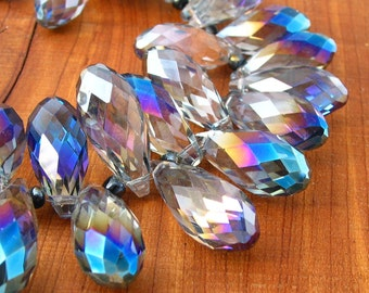 10pcs LARGE 25mm Bermuda Blue AB designer crystal glass teardrop briolette drop Beads faceted semi transparent