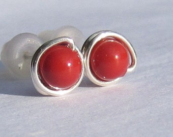 Tiny Red Coral Pearl Stud Earrings (5mm), Swarovski Pearl Stud Earrings, Wire Wrapped Sterling Silver Stud Earrings, Red Coral Stud Earrings