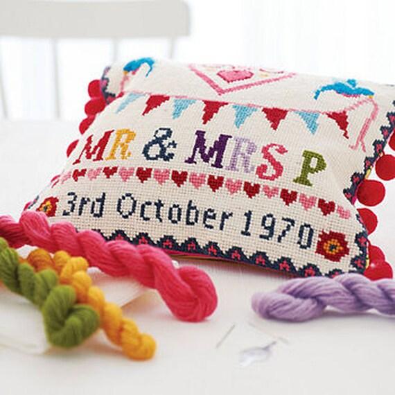 Items similar to modern wedding sampler cross stitch kit