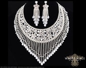 Wedding Jewelry Set, Crystal Necklace, Bib Necklace, Cubic Zirconia Bridal Statement Necklace Earring Set, Vintage Style, Hollywood Necklace