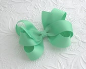 Mint Green Boutique Hair Bow Clip, Large Bow for Toddlers, Girls, Mint Hair Bow, Photo Prop, Flower Girl Hair Accessories