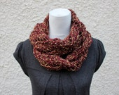 SCARF knitted chunky loop, barks shade, gift hor her, knitwear vegan UK