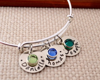 Personalized Bangle with Name Charms,  Silver Expandable Bangle Bracelet, Mother's Day Gift, Custom Bracelet, Mom, Mommy,