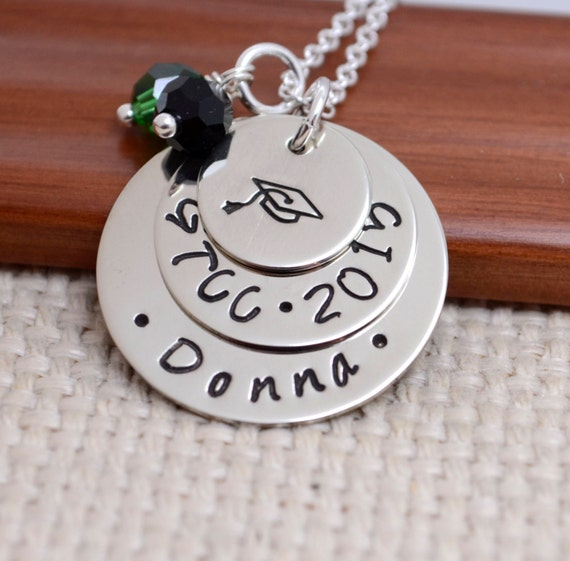 Personalized Necklace for Graduation, Senior Necklace, Class of 2015, High School, College, Gift, Graduation Cap, Hand Stamped Jewelry