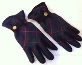 Womens Gloves , Scottish Wool and Suede Gloves , Plaid Tartan
