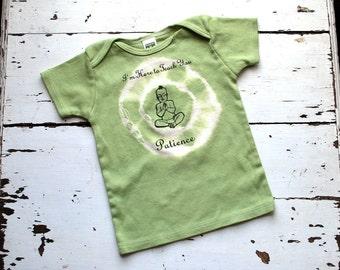 12-18m Toddler Organic Patience Buddha T Shirt - Avocado Green, short sleeved kids shirt
