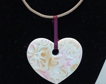 Pink and Orange Heart Tile Pendant