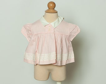 vintage 1960s baby blouse top with swiss dots