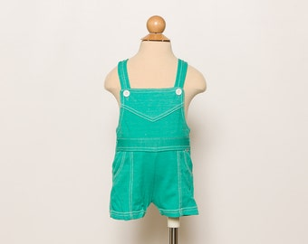vintage 80s baby girl's turquoise green overalls - shortalls