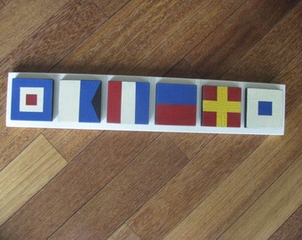 6 Small Nautical Signal Flag  Signs   Mounted  Initials  Monogram