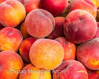Peach art for kitchen.  Fruit wall art or kitchen wall art from food photography.  Fine art print for kitchen decor or wall art.