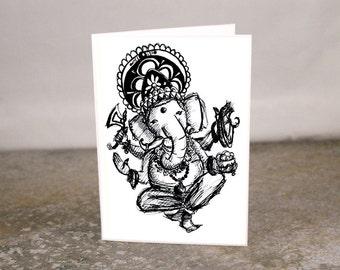 Blank Ganesha Ganesh Sketch Mini Card Printed from Art Sketch 3.5 x 2.5
