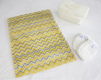 Yellow and Grey Chevron Waterproof Changing Pad - large