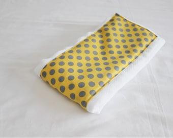 Yellow and Grey Polka Dots Baby Burp Cloth