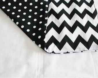 Reversible Black and White Chevron and Dot Waterproof Changing Pad - medium