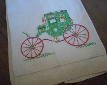 Vintage Linen Tea Towel Carriage Embroidery Romantic Cottage Chic Kitchen Decor Bride Wedding Shower Gift AMarigoldLife