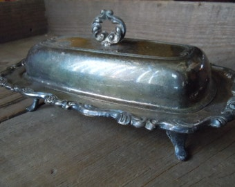 Vintage Butter Dish Silverplate Rustic Shabby Farmhouse Kitchen Farm Dinner Decor AMarigoldLife