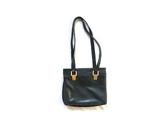 vintage purse handbag forest green leather 1980s gold bag minimalist