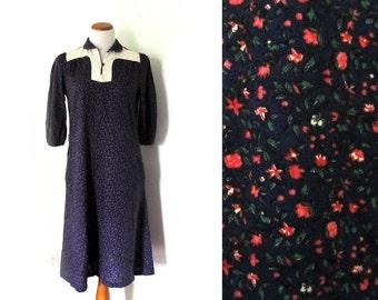 vintage dress 60s floral print quilt blue purple pink boho 1960s womens clothing size s m small medium