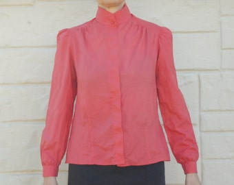 Vintage 80s Pink Secretary Blouse Puff Sleeve Top Hipster Retro