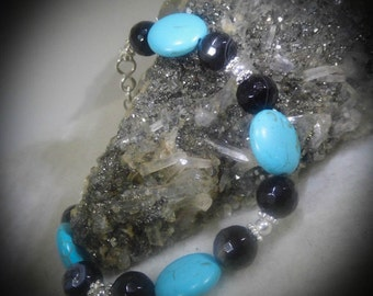Agate & Faux Turquoise Stone Beaded Bracelet 6 inch