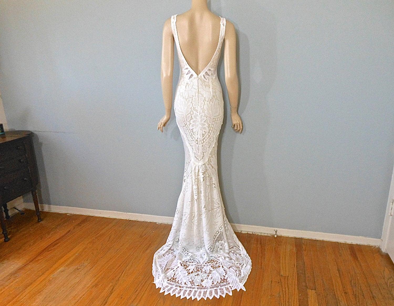 Hippie Boho Wedding Dress Crochet LACE Wedding Dress Beach