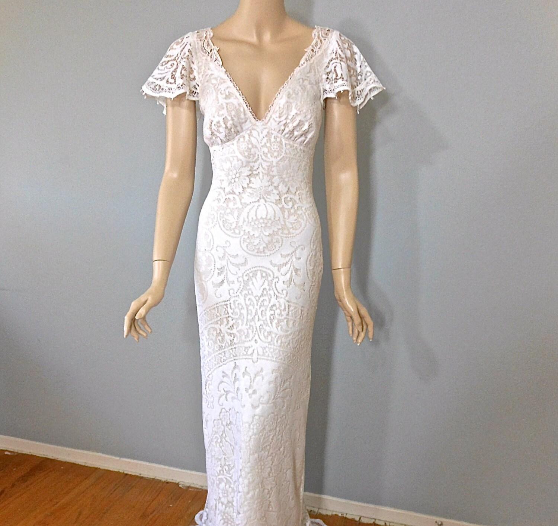 RESERVED Courtney VINTAGE Inspired Lace Wedding Dress BoHO